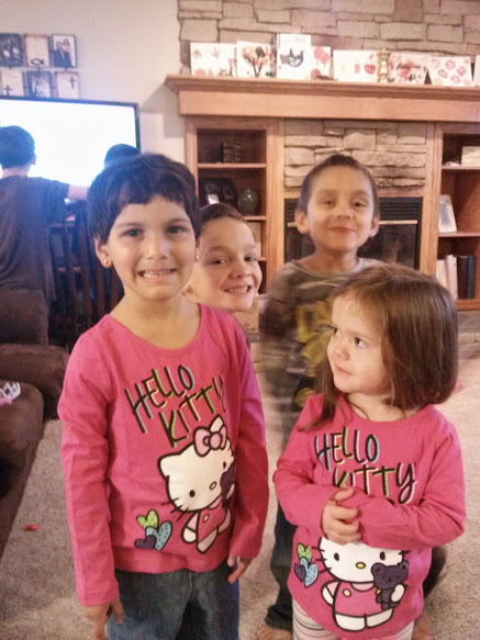 This is the first day Mary came home, Anna had bought them matching shirts.