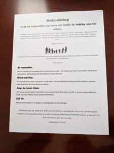 Babysitting Page PDF